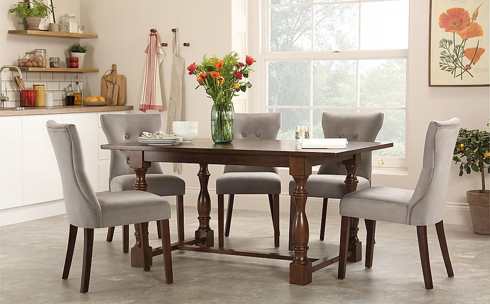 Devonshire Dark Wood Dining Table with 6 Bewley Grey Velvet Chairs