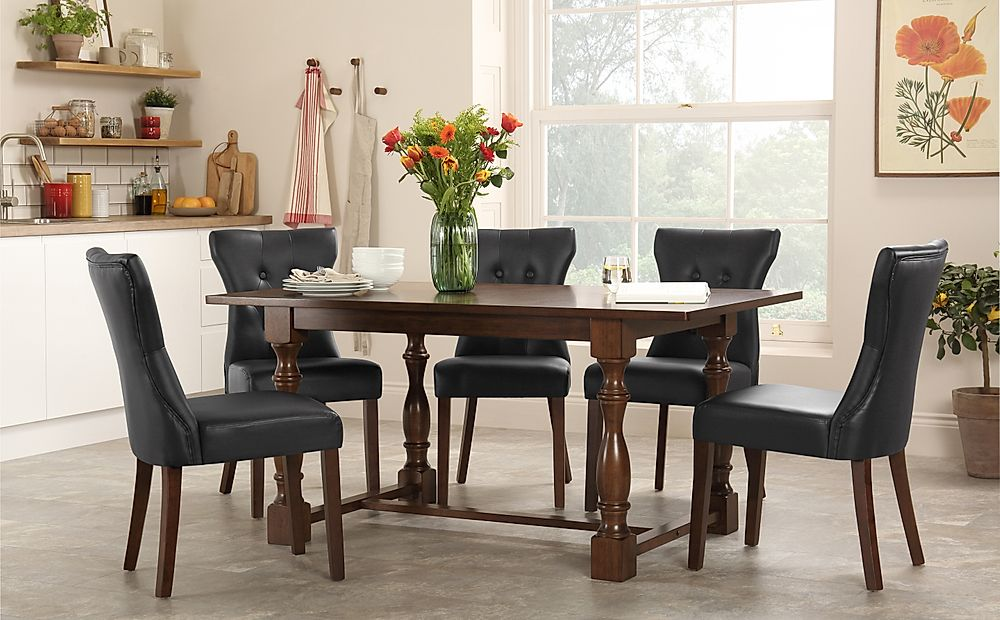 Devonshire Dark Wood Dining Table with 4 Bewley Black Chairs