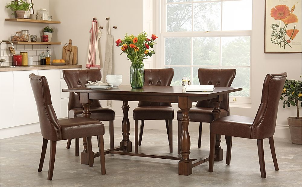 Devonshire Dark Wood Dining Table with 4 Bewley Club Brown Chairs