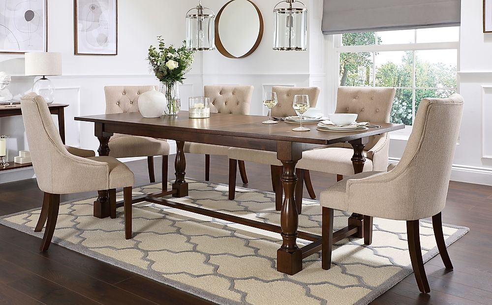 Devonshire Dark Wood Extending Dining Table with 8 Duke Oatmeal Fabric Chairs