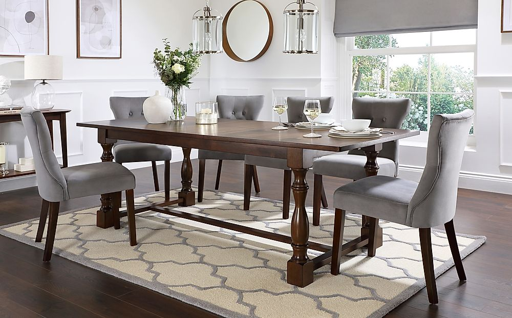 Devonshire Dark Wood Extending Dining Table with 8 Bewley Grey Velvet Chairs