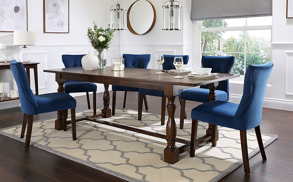 Devonshire Dark Wood Extending Dining Table with 4 Bewley Blue Velvet Chairs