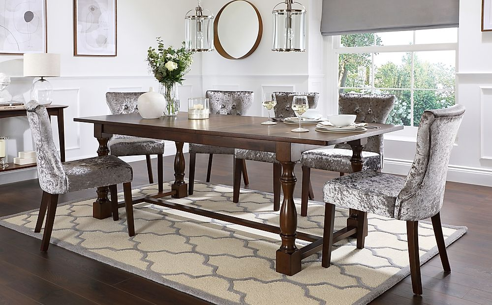 Devonshire Dark Wood Extending Dining Table with 8 Bewley Silver Velvet Chairs