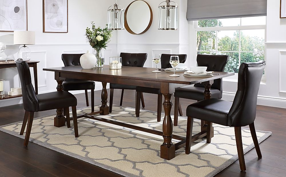 Devonshire Dark Wood Extending Dining Table with 6 Bewley Brown Leather Chairs