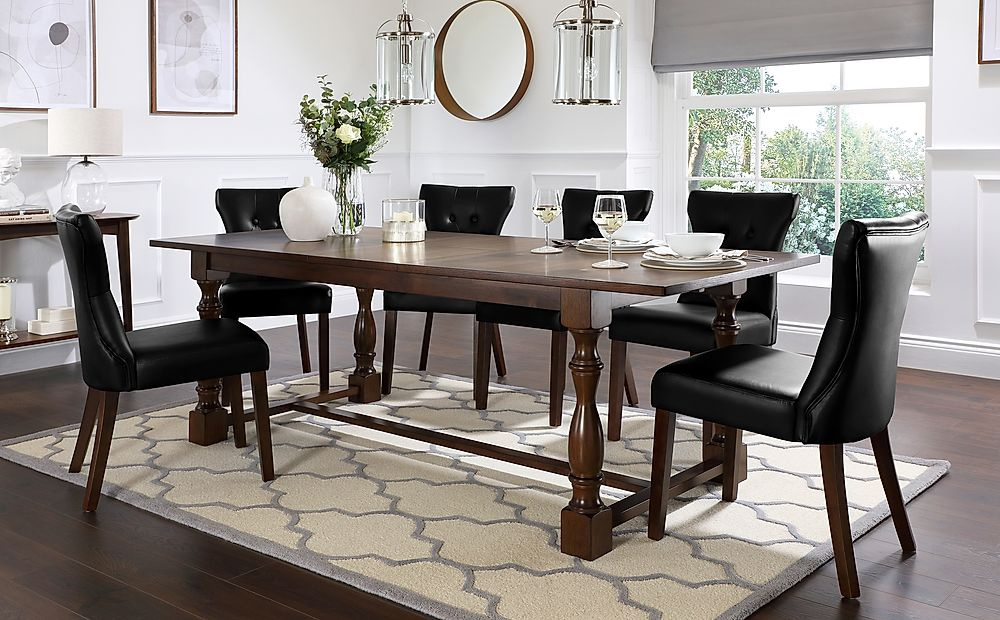 Devonshire Dark Wood Extending Dining Table with 4 Bewley Black Leather Chairs