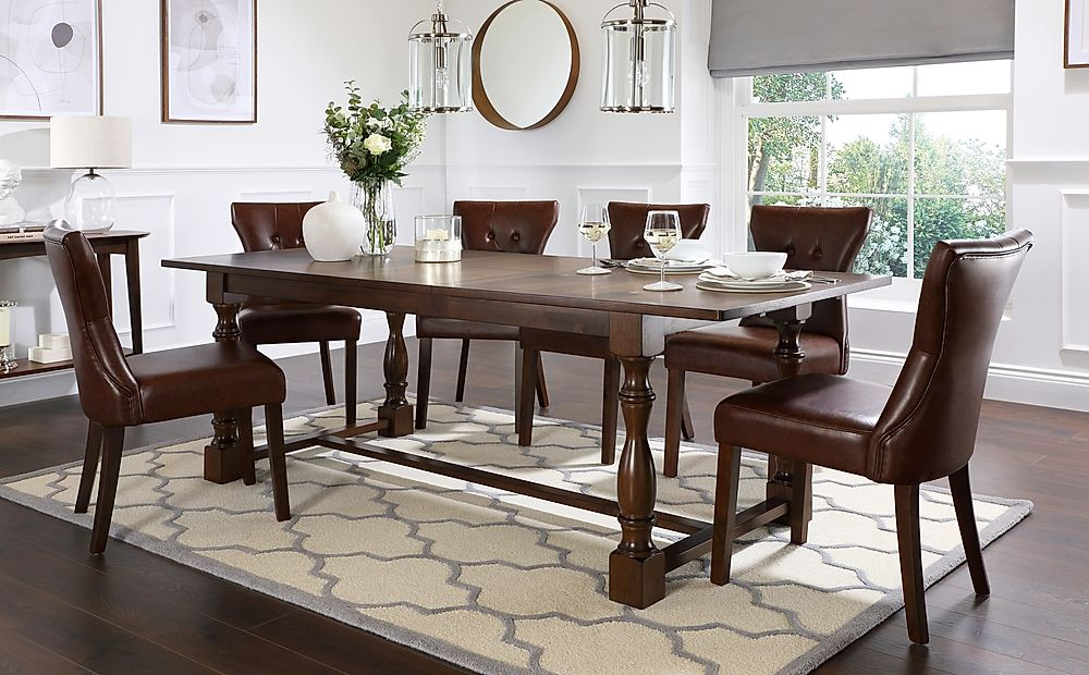 Devonshire Dark Wood Extending Dining Table with 8 Bewley Club Brown Leather Chairs