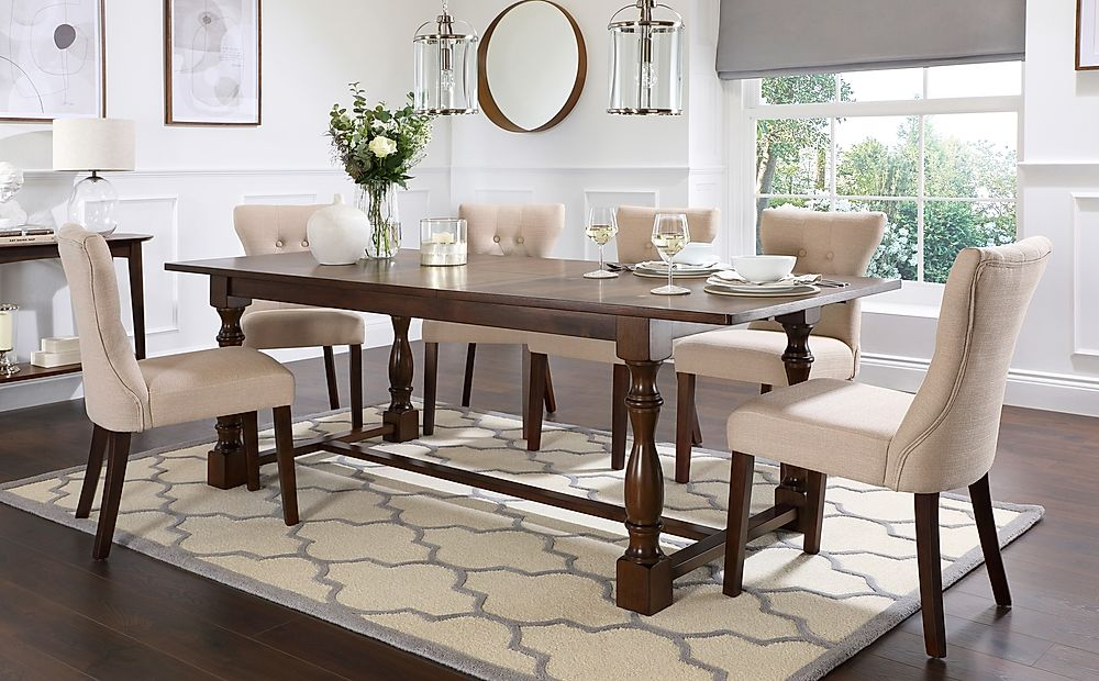 Devonshire Dark Wood Extending Dining Table with 6 Bewley Oatmeal Fabric Chairs