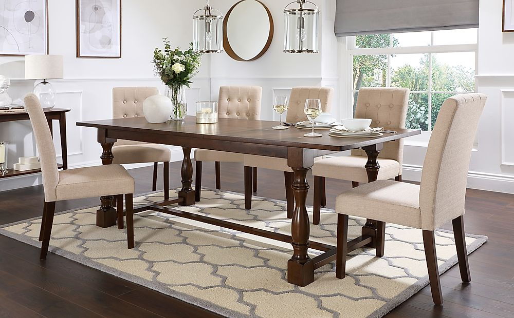 Devonshire Dark Wood Extending Dining Table with 6 Regent Oatmeal Fabric Chairs