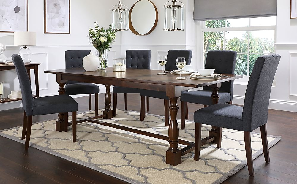 Devonshire Dark Wood Extending Dining Table with 8 Regent Slate Fabric Chairs