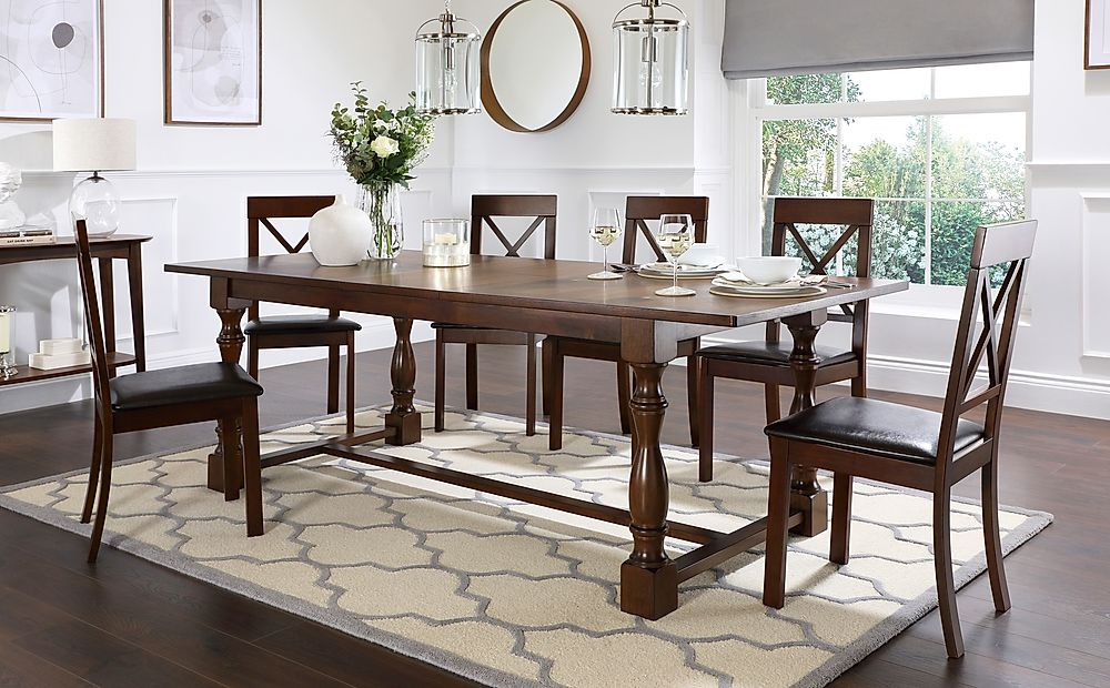 Devonshire Dark Wood Extending Dining Table with 8 Kendal Chairs (Brown Leather Seat Pads)