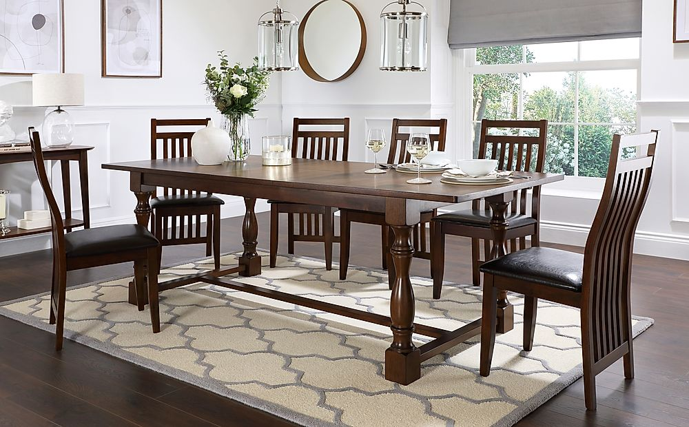 Devonshire Dark Wood Extending Dining Table with 8 Java Chairs (Brown Leather Seat Pads)