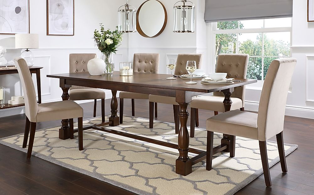 Devonshire Dark Wood Extending Dining Table with 8 Regent Mink Velvet Chairs