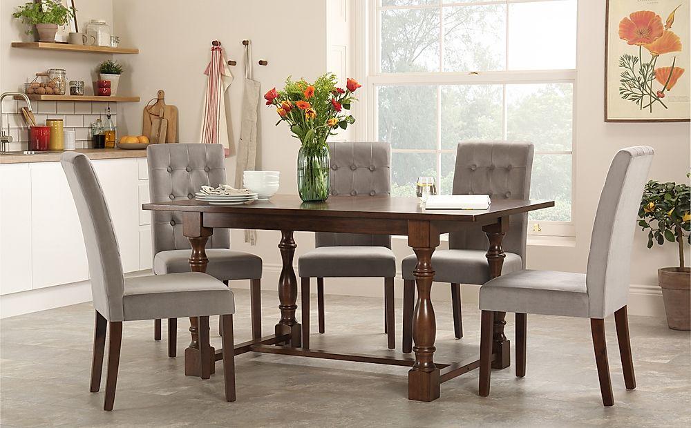Devonshire Dark Wood Dining Table with 4 Regent Grey Velvet Chairs