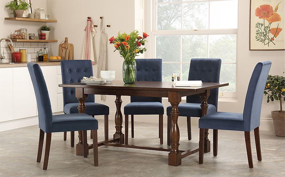 Devonshire Dark Wood Dining Table with 4 Regent Blue Velvet Chairs