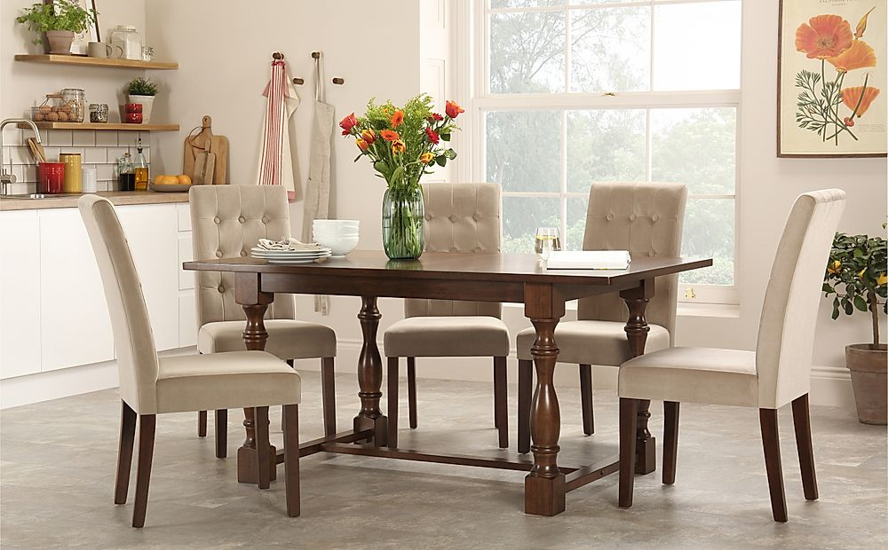 Devonshire Dark Wood Dining Table with 4 Regent Mink Velvet Chairs