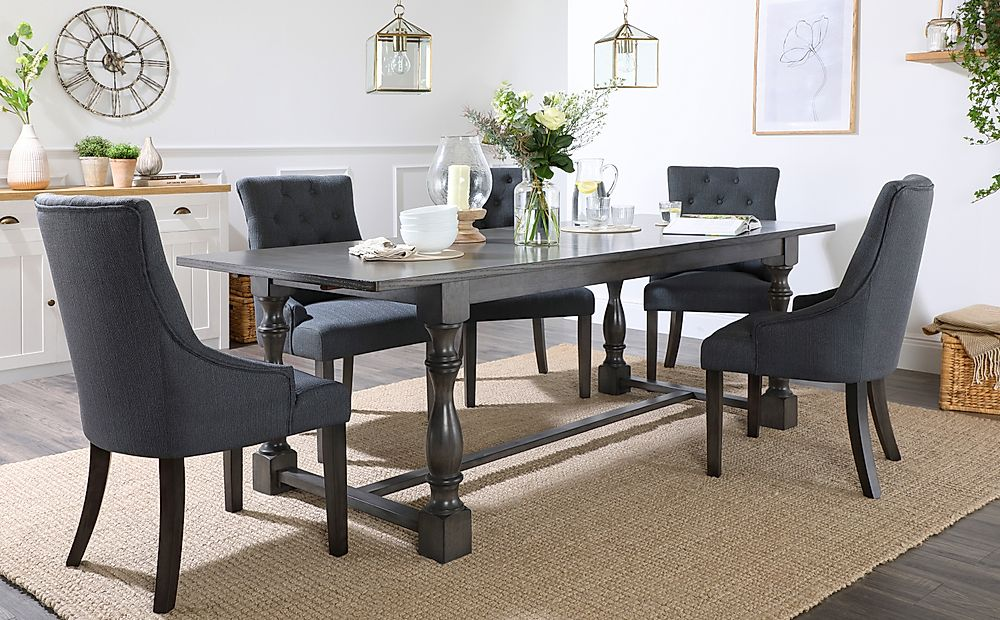 Devonshire Grey Wood Extending Dining Table with 4 Duke Slate Chairs