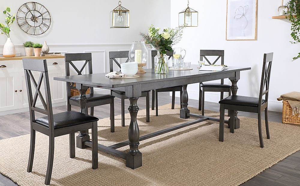 Devonshire Grey Wood Extending Dining Table with 8 Kendal Chairs (Black Seat Pad)