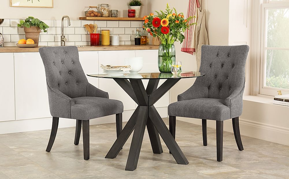 Hatton Round Grey Wood and Glass Dining Table with 2 Duke Slate Fabric Chairs