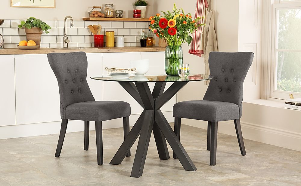 Hatton Round Grey Wood and Glass Dining Table with 2 Bewley Slate Fabric Chairs