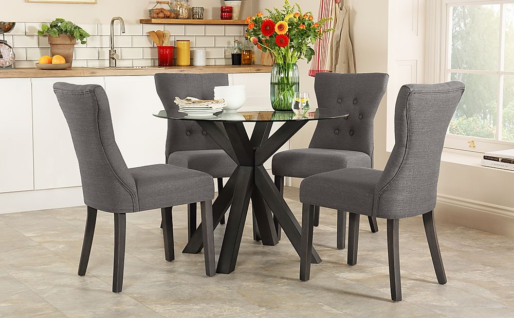 Hatton Round Grey Wood and Glass Dining Table with 4 Bewley Slate Chairs