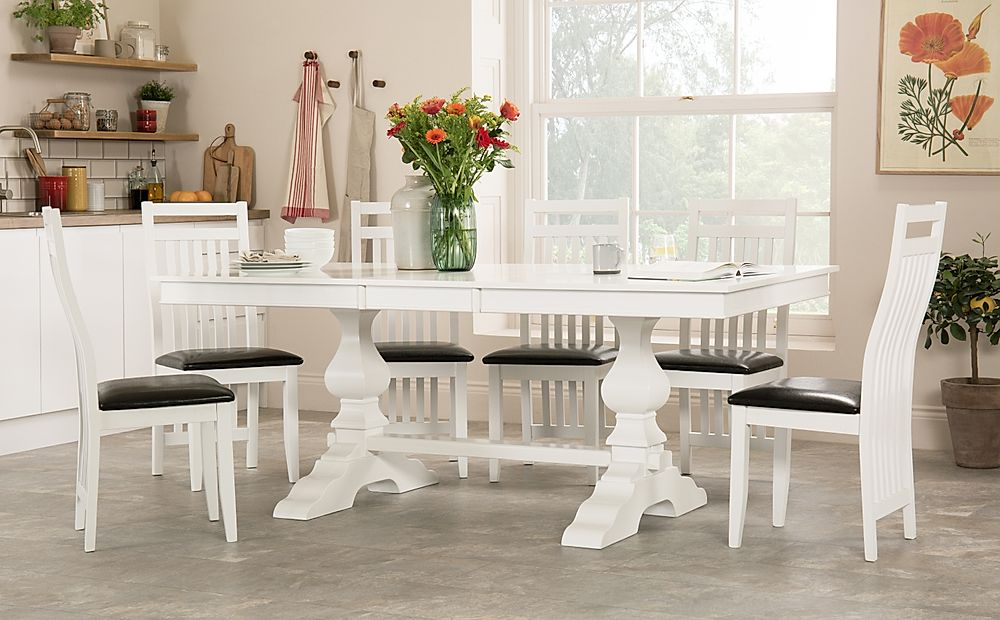 Cavendish White Extending Dining Table with 6 Java Chairs (Black Leather Seat Pads)