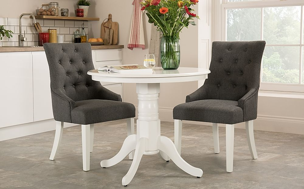 Kingston Round White Dining Table with 2 Duke Slate Chairs