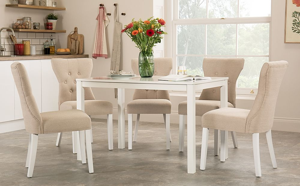 Milton White Dining Table with 6 Bewley Oatmeal Fabric Chairs