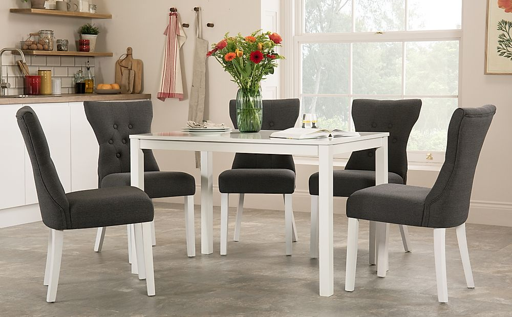 Milton White Dining Table with 4 Bewley Slate Fabric Chairs