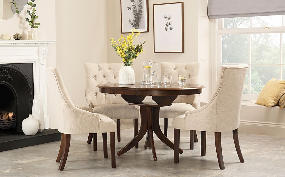 Hudson Round Dark Wood Extending Dining Table with 4 Duke Oatmeal Fabric Chairs