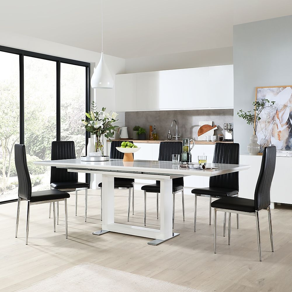 Tokyo White High Gloss Extending Dining Table with 8 Leon Black Leather Chairs (Chrome Leg)