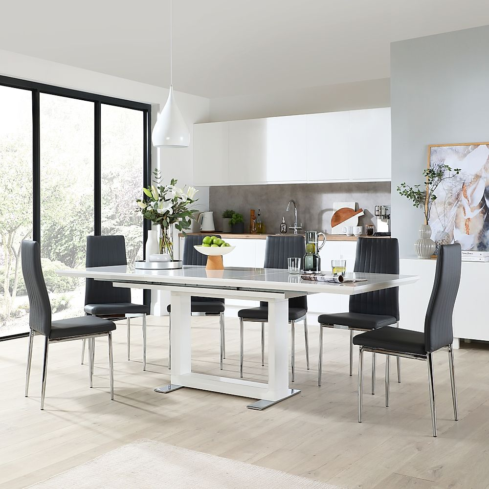 Tokyo White High Gloss Extending Dining Table with 8 Leon Grey Leather Chairs (Chrome Leg)