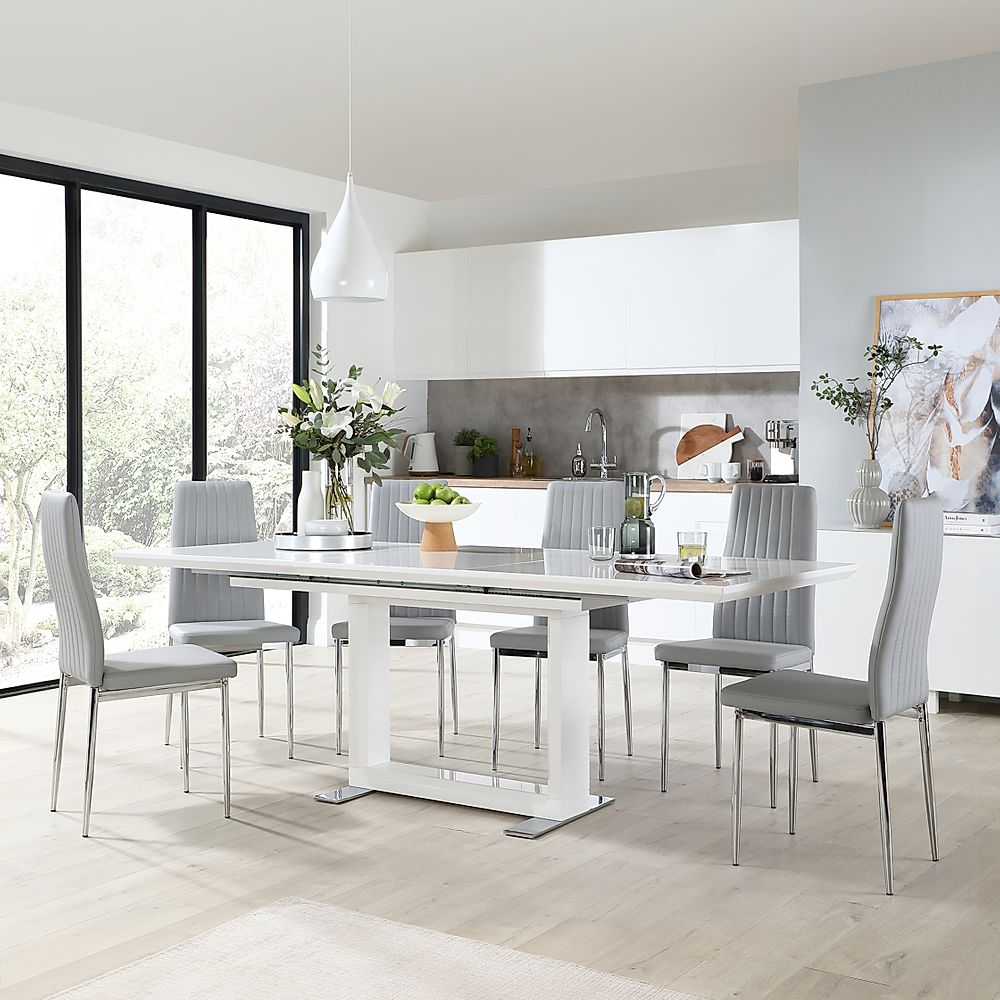 Tokyo White High Gloss Extending Dining Table with 8 Leon Light Grey Chairs