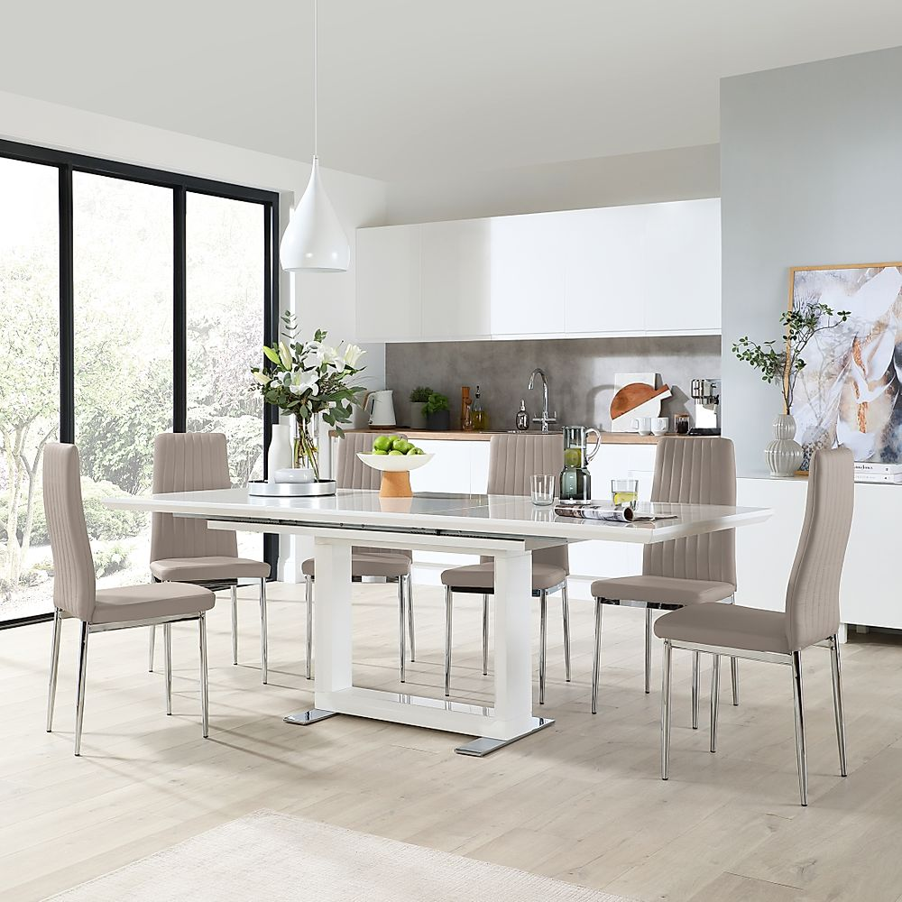 Tokyo White High Gloss Extending Dining Table with 8 Leon Taupe Leather Chairs (Chrome Leg)