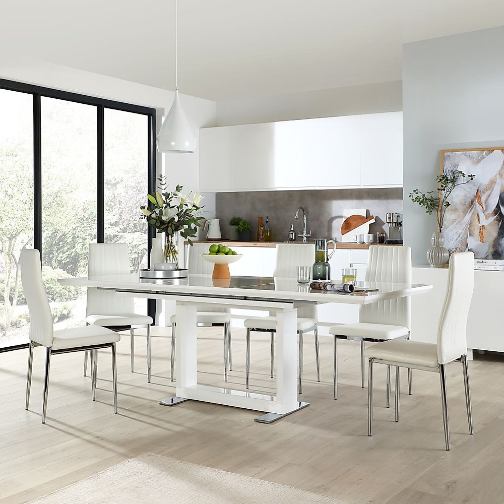 Tokyo White High Gloss Extending Dining Table with 6 Leon White Leather Chairs (Chrome Leg)