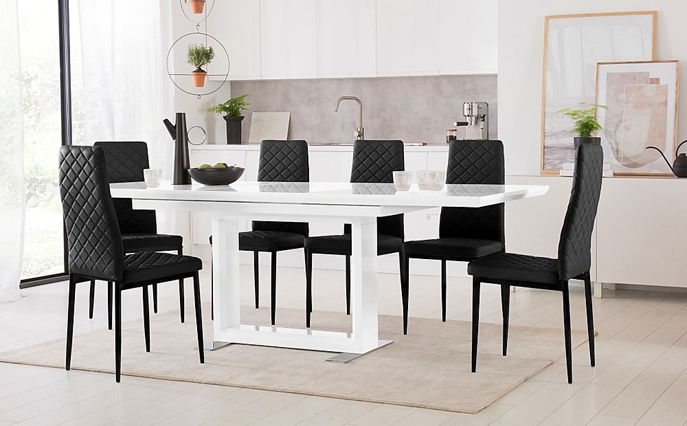 Tokyo White High Gloss Extending Dining Table with 4 Renzo Black Leather Chairs (Black Leg)