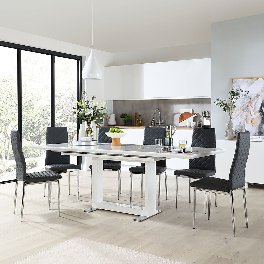 Tokyo White High Gloss Extending Dining Table with 4 Renzo Grey Leather Chairs
