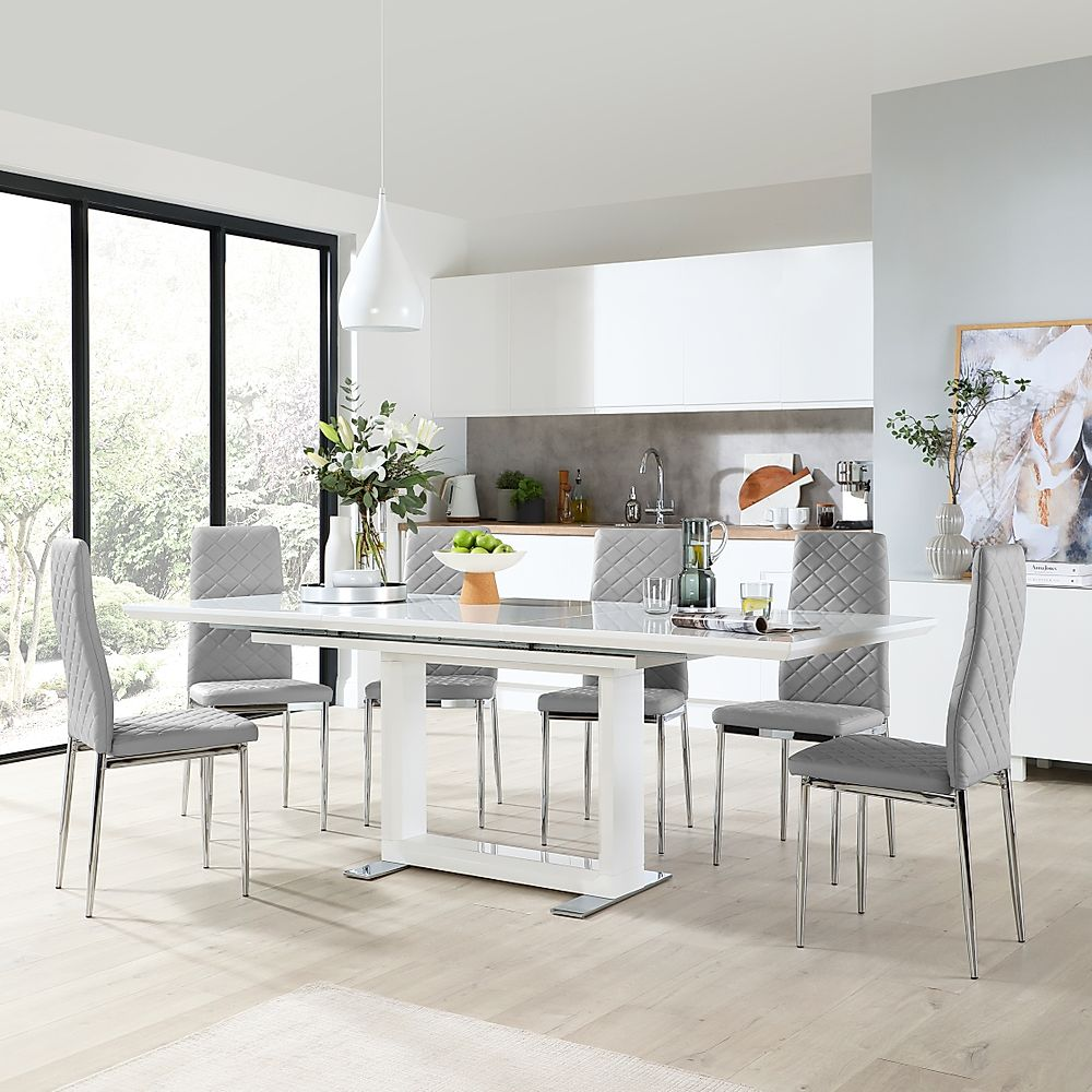 Tokyo White High Gloss Extending Dining Table with 6 Renzo Light Grey Leather Chairs