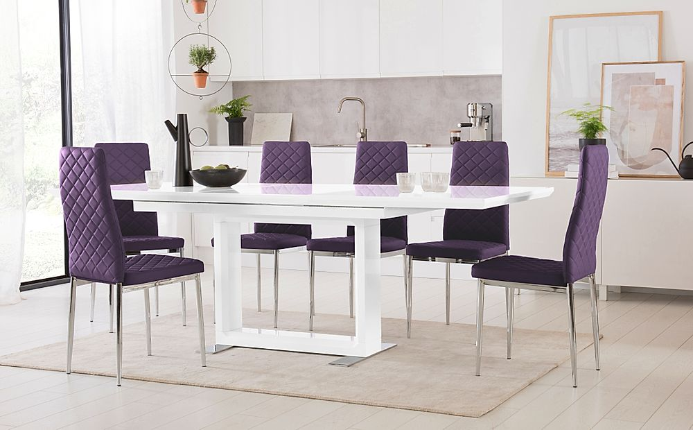 Tokyo White High Gloss Extending Dining Table with 4 Renzo Purple Leather Chairs (Chrome Leg)