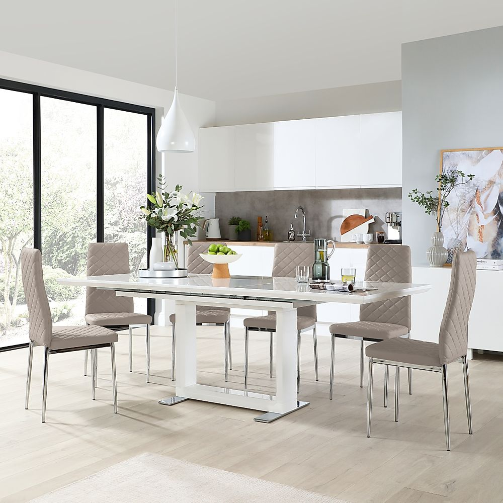 Tokyo White High Gloss Extending Dining Table with 6 Renzo Taupe Leather Chairs (Chrome Leg)
