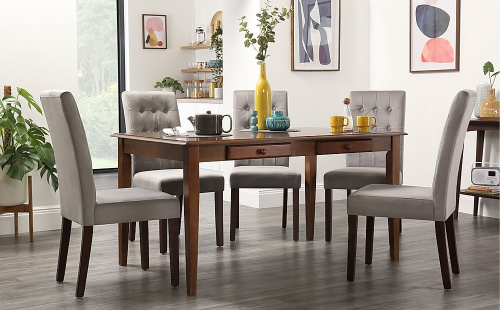 Wiltshire Dark Wood Dining Table with Storage with 4 Regent Grey Velvet Chairs