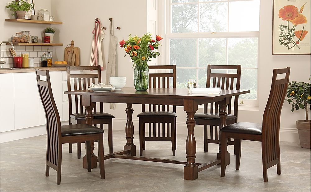 Devonshire Dark Wood Dining Table with 6 Java Chairs (Brown Seat Pad)