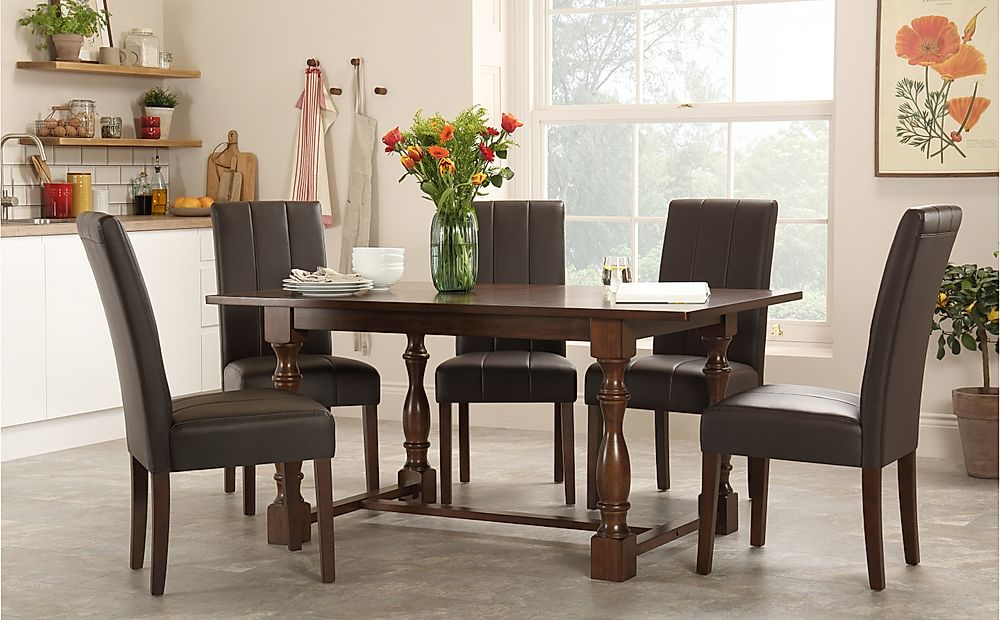 Devonshire Dark Wood Dining Table with 6 Carrick Brown Chairs