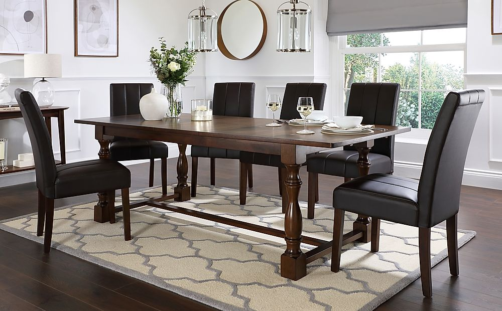 Devonshire Dark Wood Extending Dining Table with 8 Carrick Brown Leather Chairs