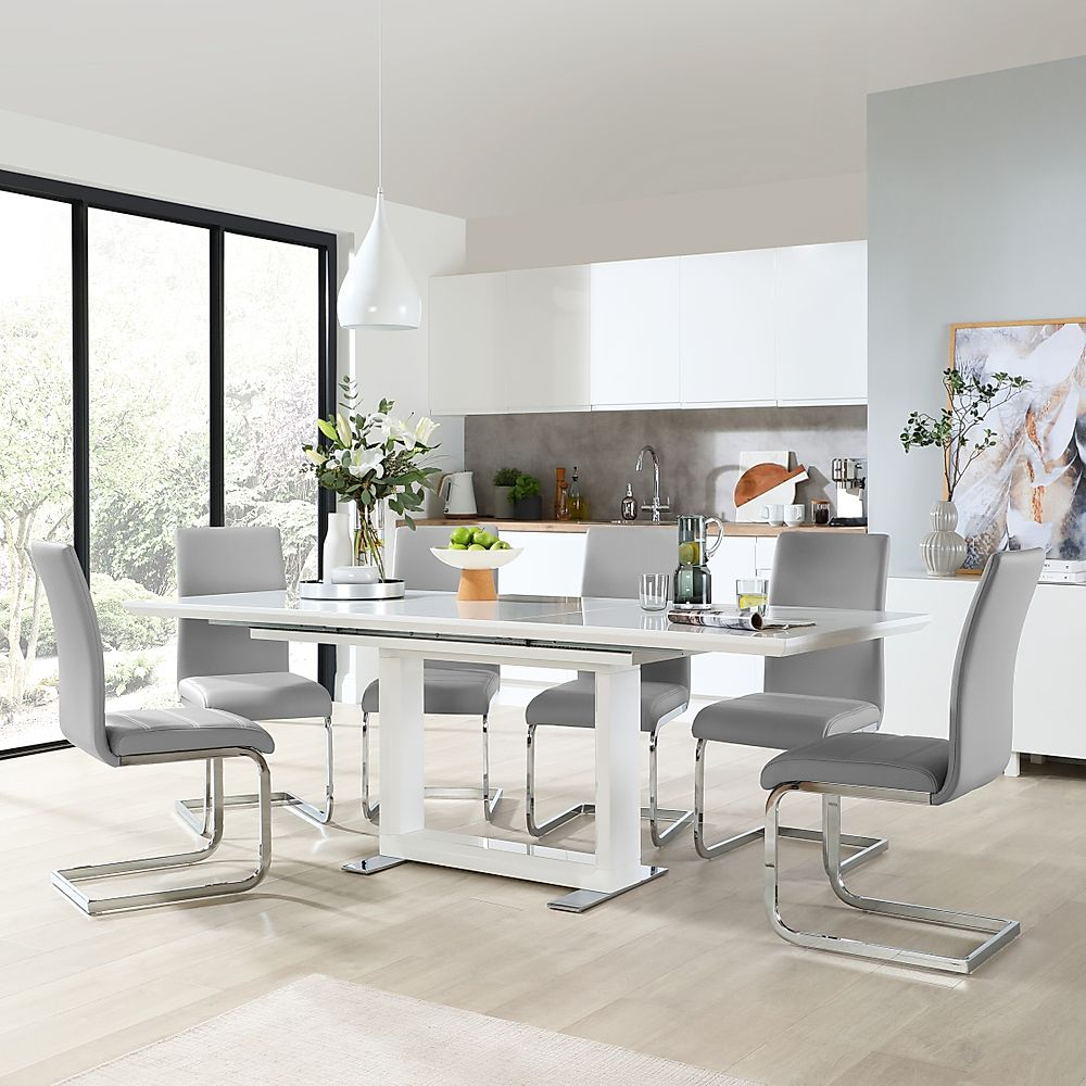 Tokyo White High Gloss Extending Dining Table with 6 Perth Light Grey Leather Chairs