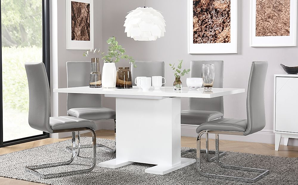 Osaka White High Gloss Extending Dining Table with 4 Perth Light Grey Leather Chairs