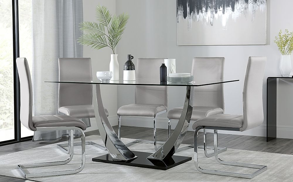 Peake Glass and Chrome Dining Table (Black Gloss Base) with 4 Perth Light Grey Leather Chairs