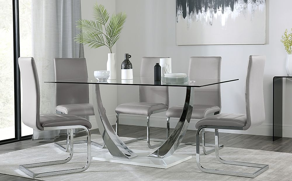 Peake Glass and Chrome Dining Table (White Gloss Base) with 4 Perth Light Grey Leather Chairs