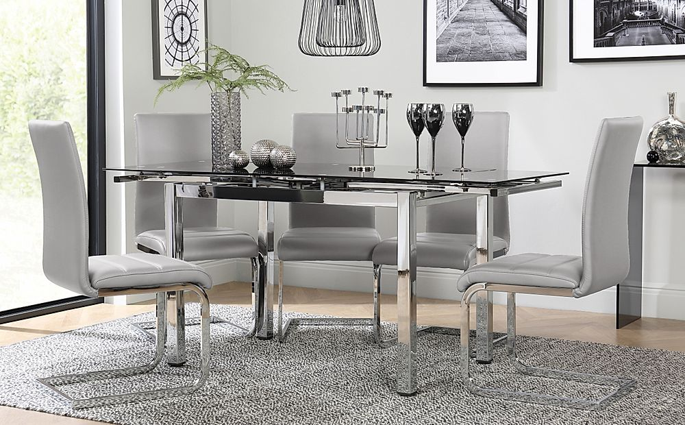 Space Chrome and Black Glass Extending Dining Table with 6 Perth Light Grey Leather Chairs