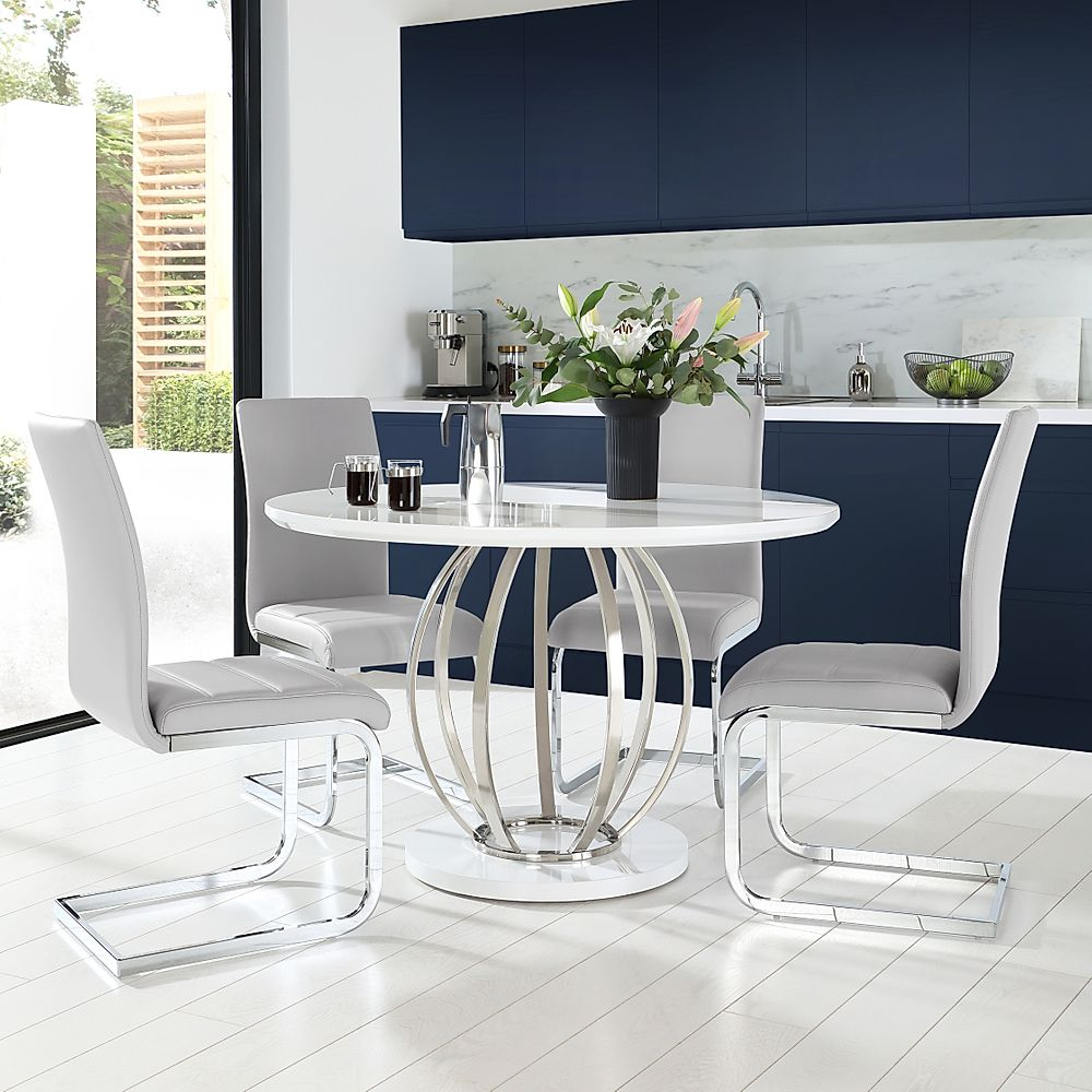 Savoy Round White High Gloss and Chrome Dining Table with 4 Perth Light Grey Leather Chairs