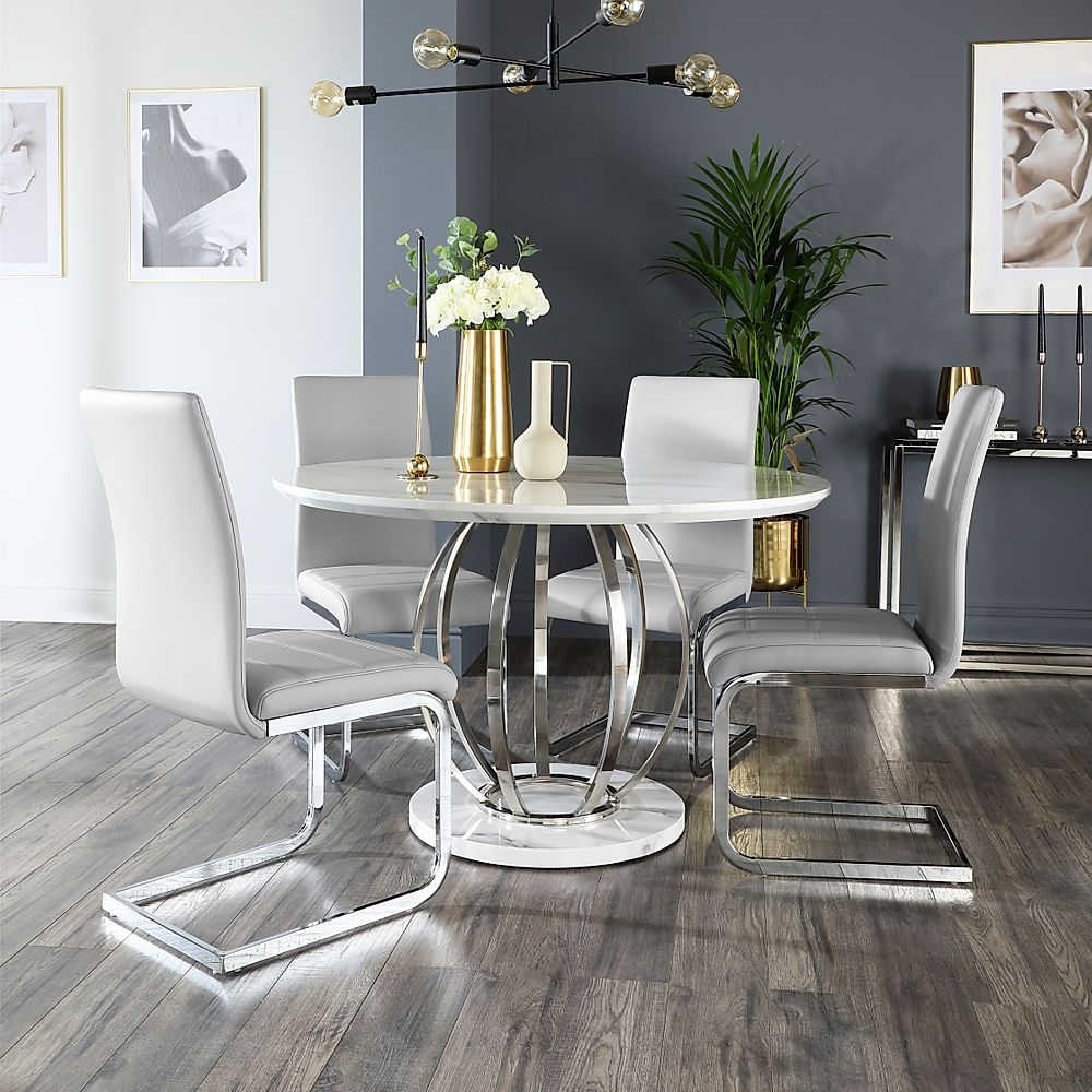 Savoy Round White Marble and Chrome Dining Table with 4 Perth Light Grey Leather Chairs